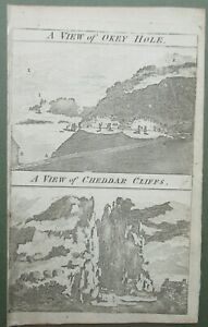 A View of Wookey Hole and A View of Cheddar Cliffs Somerset Antique Print 1759
