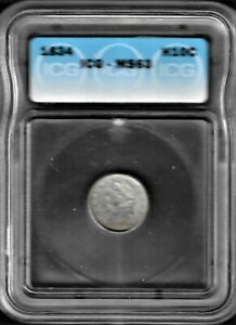 Absolutely Stunning ICG MS-63 1834  Capped Bust Half Dime #1202