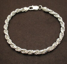 """9"""" 6mm Bold Diamond Cut Rope Chain Bracelet Solid Real 925 Sterling Silver 23.4g"""