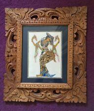 Original vintage Balinese dancer in carved ornate frame