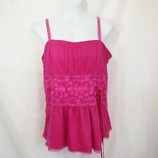 Torrid Sleeveless Tank Top SIZE 0 (Sz 12 or Large) Pink Lace Layered Tie Blouse