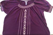 LAURA SCOTT womens size 20/22 Pretty Purple Boho Embroidered Top Blouse Shirt