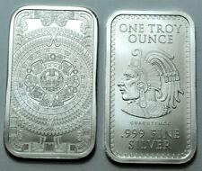 1 Oz 999Fine Silver Bar Aztec Mayan Calendar GUAUHTEMOC Collectible Bullion:..