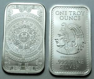1 Oz 999Fine Silver Bar Aztec Mayan Calendar GUAUHTEMOC Collectible Bullion !