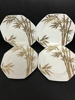 """Katsura Bamboo Mikasa A7203 Bone China Set Of 4 8.5"""" Salad Plates"""