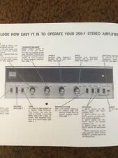 """H H Scott Model 229-F 315B Stereo Amplifier """"Original"""" Operating Manual 12 Pages"""