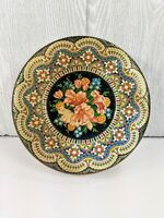 """Vintage Daher Long Island NY Vibrant Embossed Floral 8"""" Round Tin w/ Lid England"""