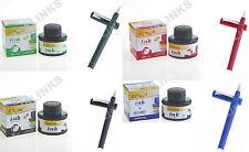 Set Of 4 Calligraphy Fountain Pens 1.5 mm NIB & 4 Dollar Fountain Pen Inks