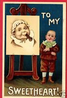 TO MY SWEETHEART 1909 EASEL BABY WITH HORN HAGELBERGER MONTPELIER OHIO  POSTCARD