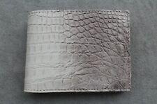 DOUBLE SIDE Beige Genuine Alligator Crocodile Leather Skin Men's Bifold Wallet
