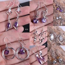 Amethyst l 925 Stamped Silver Plated Hook Dangle  Earring Eardrop