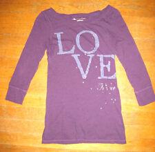Women's American Eagle Purple Love Long Sleeve Tshirt Small/Petite S/P