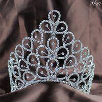 "Flowers 6.25"" Tiara Crown Clear Rhinestone Headpiece Wedding Pageant Prom Party"