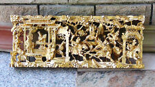 ANTIQUE CHINESE WOOD HAND CARVED GILT PIERCED PLAQUE OF COURT SCENE IN PALACE#1