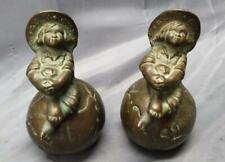 Pair of Two 2 Antique Cast Iron World Globe Bookends Child Kid on Top Set Old