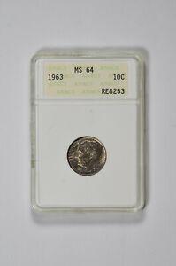 1963 10C Roosevelt Dime ANACS MS 64 *Cracked Case*