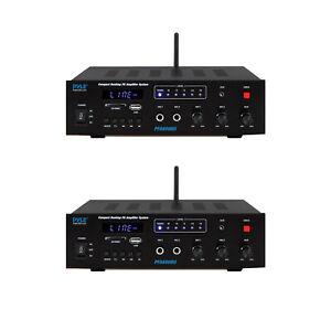 Pyle PFA600BU 300W 2 Channel Compact Bluetooth Public Address Amplifier (2 Pack)