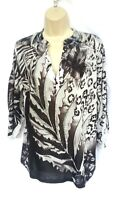 Chico's Womens Size 0 Tunic Top Beaded Gray Black Floral 3/4 Sleeve