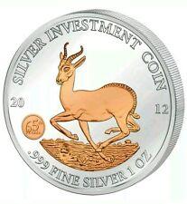 2012 AFRICAN SPRINGBOK - GABON - 1 oz Gilded .999 Silver Coin in Capsule +BONUS