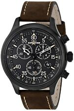 Timex Men's T49905 Expedition Rugged Field Chronograph Black/Brown Leather Watch