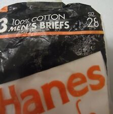 Nos Vtg White 100% Cotton Hanes Briefs Underwear sz 28 3 Pair 1992 Unworn