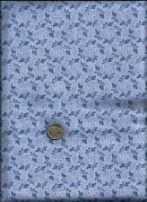 """Nice Leaf Floral & Micro Dots Print med blue & white on lt blue Fabric-1yd+ 34"""""""
