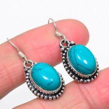 Lab-Created Santa Rosa Turquoise Gemstone Handmade Jewelry Earrings 1.5 0427