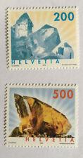 2 timbres suisses YT CH1732/1733, Zum:CH 1065/1066 neufs** Minéraux