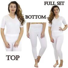 Ladies Thermal Tshirt Short Sleeve Winter Warm Set Underwear Legging Bottom Tops