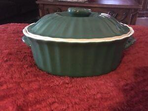 1 1/2qt  Oval Pottery Dark Green Casserole w/ lid  No Mark.