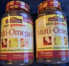2-Nature Made Multi + Omega-3 Adult Gummies, 80 Count, Exp:2/20. T43