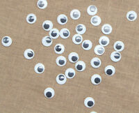 100 X 8mm WIBBLY WOBBLY GOOGLY EYES. CRAFTS, STICK ON, STICKERS SELF ADHESIVE 08