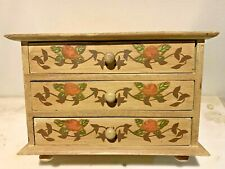 Hand Painted footed wooden Chest of Drawers jewelry  box