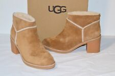 New $150 UGG Kasen Chestnut Brown Suede Short/Ankle Boots/Bootie Heel sz 10