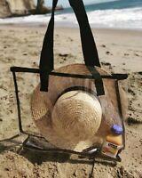 Clear PVC Shoulder Tote Beach Bag Handbag Travel Shopping Transparent Clear NWT