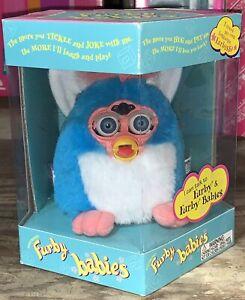 Tiger 1999 Electronic Furby Babies blue white & pink NIB Green Eyes