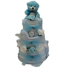 BABY BOY ULTIMATE LUXURY 3 TIER NAPPY CAKE BLUE