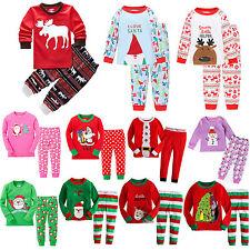 boy girl christmas pajamas set xmas santa toddler baby kids sleepwear nightwear