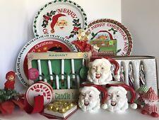 Large Lot Vintage Christmas – Ornaments - Santa Mugs – Pixie – Lights