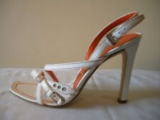 SEXY~! NIB $350 PRADA White Orange Slingback Pumps Sandals Shoes ITALY 37  7M