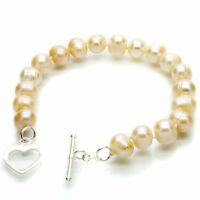 Pink Pearl Bracelet Cultured Freshwater Pearls Sterling Silver Heart Toggle