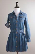 RALPH LAUREN POLO $298 Denim Chambray Tab Sleeve Flared Shirt Dress Size 10