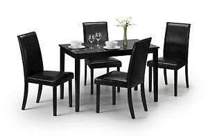 Hudson Black Dining Set 4 Faux Leather Chairs  -  Extra Chairs Sold Separately
