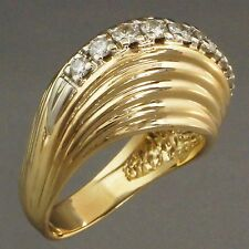 Fabulous, Solid 14K Yellow Gold & .50 cttw Diamond, Scalloped Retro Dome Ring