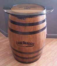"Authentic Branded- Engraved-Sanded-Finished Whiskey Barrel c/30"" Glass Table Top"