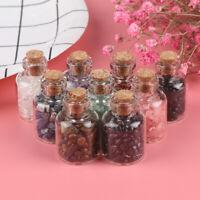 Mini Fancy Empty Glass Bottle Wishing with Corks Necklace Pendant Gravel_ti