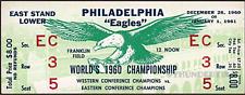 1 1960 NFL CHAMPIONSHIP VINTAGE UNUSED FULL TICKET EAGLES PACKERS laminated grn