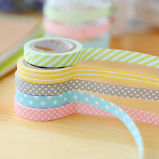 5Rolls Colorful Washi Tape Decorative Sticky Paper Masking Tape Adhesive 5M *8mm