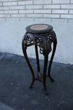 Great Chinese Teak Wood Heavily Carved Marble Top Planter Stand, 19th C.
