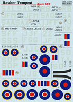 Print Scale 72-273 1/72 scale Decal for airplane - Hawker Tempest World War